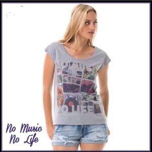 🌟HP🌟💗No Music No Life Short Sleeve Graphic Tee